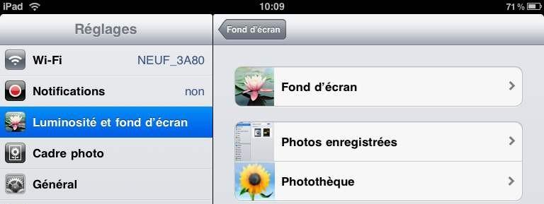 Changer le fond d écran de l iPad.