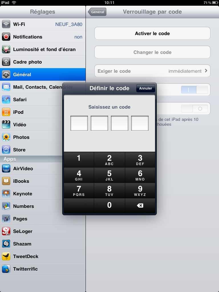 how to put password on ipad