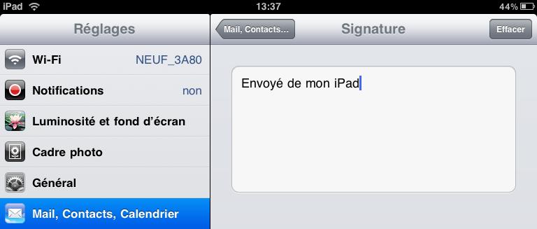 Changer signature iPad