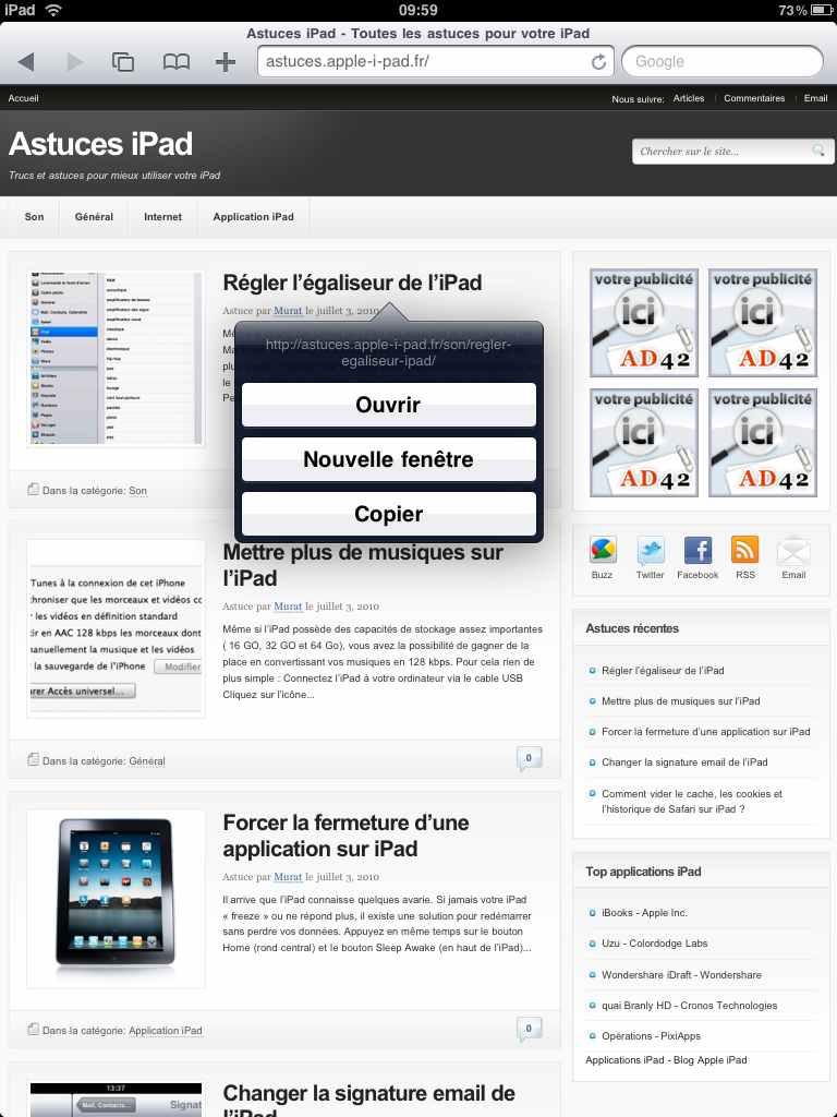 Ouvrir lien dans nouvelle fênetre sur Safari iPad
